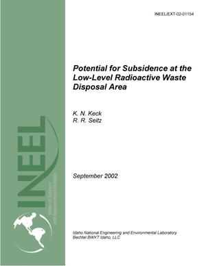 Primary view of object titled 'Potential for Subsidence at the Low-Level Radioactive Waste Disposal Area'.