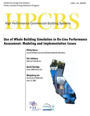 Primary view of object titled 'Use of whole building simulation in on-line performance assessment: Modeling and implementation issues'.
