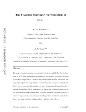 Primary view of object titled 'The Feynman-Schwinger representation in QCD'.