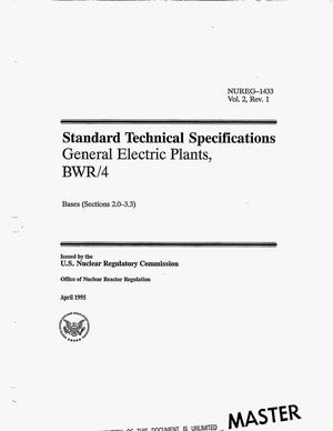 Primary view of object titled 'Standard Technical Specifications General Electric plants, BWR/4: Bases (Sections 2.0-3.3). Volume 2, Revision 1'.