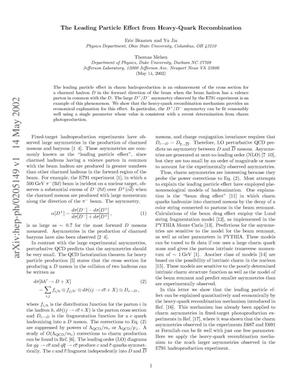 Primary view of object titled 'The Leading Particle Effect from Heavy-Quark Recombination'.