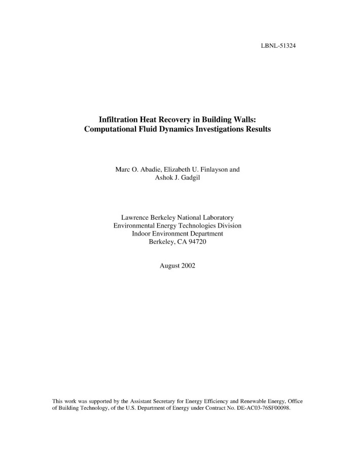 Infiltration heat recovery in building walls: Computational fluid