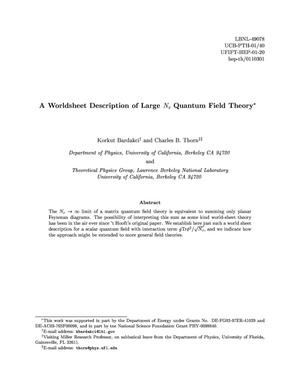 Primary view of object titled 'A worldsheet description of large N{sub c} quantum field theory'.