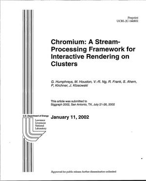 Primary view of object titled 'Chromium: A Stress-Processing Framework for Interactive Rendering on Clusters'.