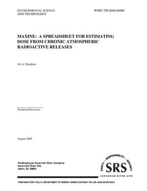 Primary view of object titled 'MAXINE: A Spreadsheet for Estimating Dose from Chronic Atmospheric Radioactive Releases'.