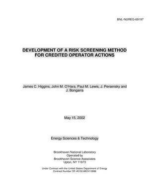 Primary view of object titled 'DEVELOPMENT OF A RISK SCREENING METHOD FOR CREDITED OPERATOR ACTIONS.'.