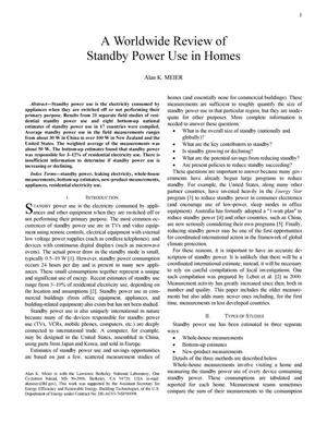 Primary view of object titled 'A worldwide review of standby power use in homes'.