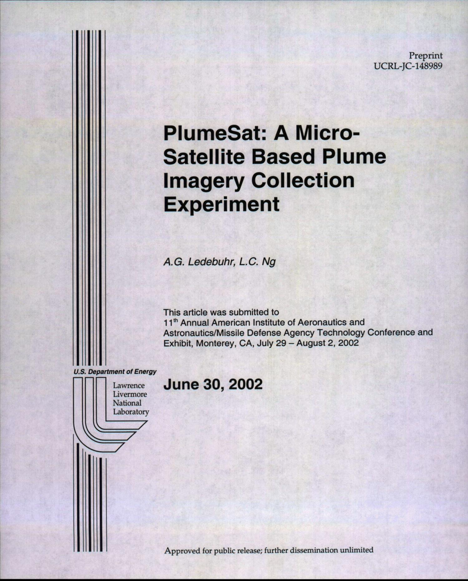 PlumeSat: A Micro-Satellite Based Plume Imagery Collection Experiment                                                                                                      [Sequence #]: 1 of 16