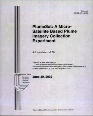 Primary view of object titled 'PlumeSat: A Micro-Satellite Based Plume Imagery Collection Experiment'.