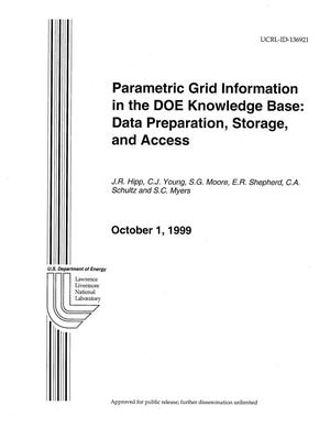 Primary view of object titled 'Parametric Grid Information in the DOE Knowledge Base: Data Preparation, Storage and Access.'.