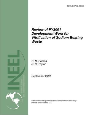 Primary view of object titled 'Review of FY2001 Development Work for Vitrification of Sodium Bearing Waste'.