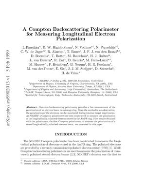 Primary view of object titled 'A compton backscattering polarimeter for measuring longitudinal electron polarization'.