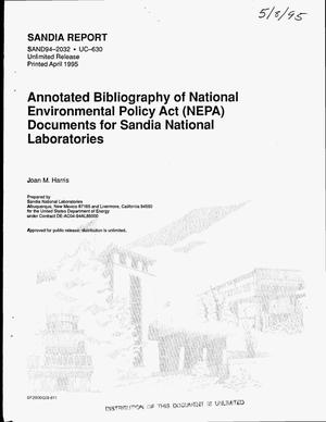 Primary view of object titled 'Annotated bibliography National Environmental Policy Act (NEPA) documents for Sandia National Laboratories'.