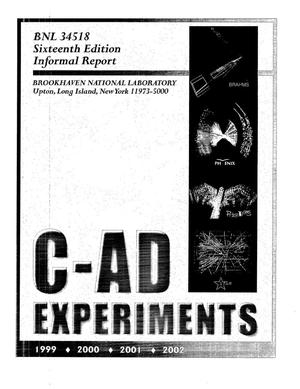 Primary view of object titled 'C-AD EXPERIMENTS 1999, 2000, 2001, 2002'.