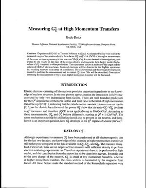 Primary view of object titled 'Measuring G{sup n}{sub E} at High Momentum Transfers'.