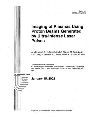 Primary view of object titled 'Imaging of Plasmas using Proton Beams Generated by Ultra-Intense Laser Pulses'.