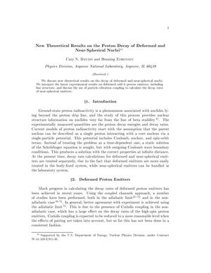 Primary view of object titled 'New theoretical results on the proton decay of deformed and near-spherical nuclei.'.