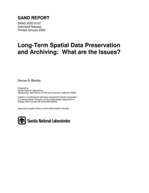 Primary view of object titled 'Long-Term Spatial Data Preservation and Archiving: What Are the Issues?'.