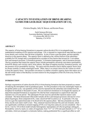 Primary view of object titled 'Capacity investigation of brine-bearing sands for geologic sequestration of CO2'.