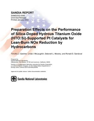 Primary view of object titled 'Preparation Effects on the Performance of Silica-Doped Hydrous Titanium Oxide (HTO:Si)-Supported Pt Catalysts for Lean-Burn NOx Reduction by Hydrocarbons'.