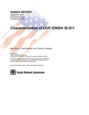 Primary view of object titled 'Characterization of UOP IONSIV IE-911'.