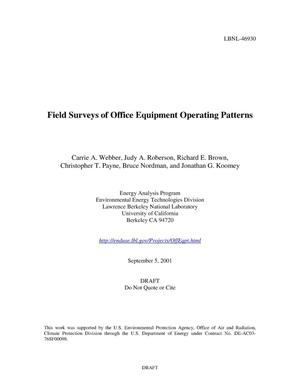 Primary view of object titled 'Field surveys of office equipment operating patterns'.