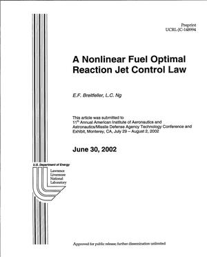Primary view of object titled 'A Nonlinear Fuel Optimal Reaction Jet Control Law'.