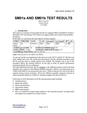 Primary view of object titled 'SM01a and SM01b test results'.