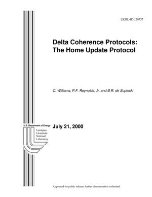 Primary view of object titled 'Delta Coherence Protocols: The Home Update Protocol'.