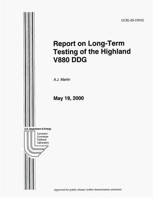 Primary view of object titled 'Report on the Long-Term Testing of the Highland V880 DDG'.