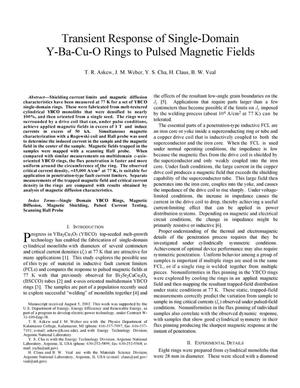 Primary view of object titled 'Transient response of single-domain Y-Ba-Cu-O rings to pulsed magnetic fields.'.