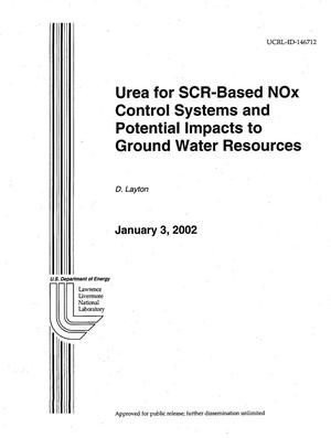 Primary view of object titled 'Urea for SCR-based NOx Control Systems and Potential Impacts to Ground Water Resources'.
