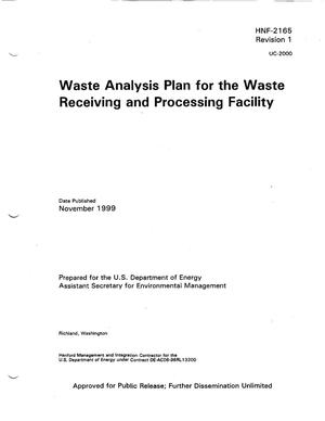 Primary view of object titled 'Waste Analysis Plan for the Waste Receiving and Processing (WRAP) Facility'.