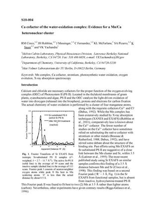 Primary view of object titled 'Ca cofactor of the water-oxidation complex: Evidence for a Mn/Ca heteronuclear cluster'.