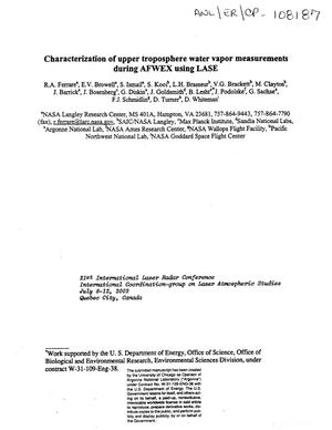 Primary view of object titled 'Characterization of upper troposphere water vapor measurements during AFWEX using LASE.'.