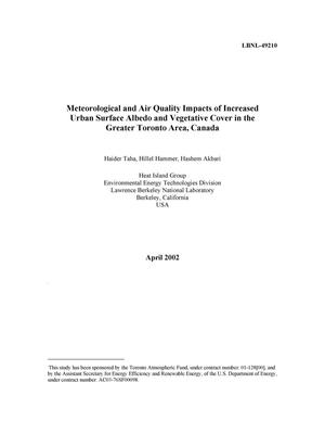 Primary view of object titled 'Meteorological and air quality impacts of increased urban albedo and vegetative cover in the Greater Toronto Area, Canada'.