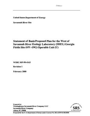 Primary view of object titled 'Statement of Basis/Proposal Plan for West of Savannah River Ecology Laboratory Georgia Fields Site (631-19G) Operable Unit'.