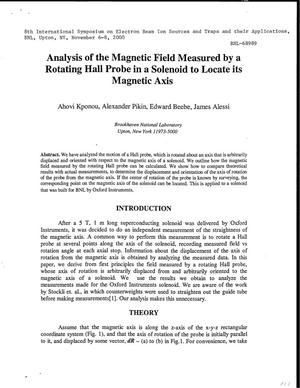 Primary view of object titled 'ANALYSIS OF THE MAGNETIC FIELD MEASURED BY A ROTATING HALL PROBE IN A SOLENOID TO LOCATE ITS MAGNETIC AXIS.'.