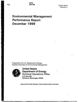 Primary view of object titled 'Environmental Management Performance Report for December 1999'.