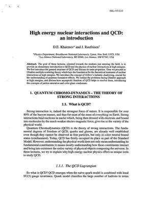 Primary view of object titled 'HIGH ENERGY NUCLEAR INTERACTIONS AND QCD : AN INTRODUCTION.'.