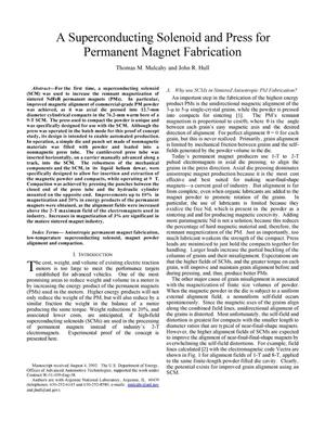 Primary view of object titled 'A superconducting solenoid and press for permanent magnet fabrication.'.