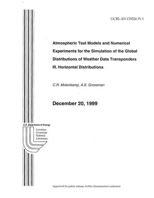 Primary view of object titled 'Atmospheric Test Models and Numerical Experiments for the Simulation of the Global Distributions of Weather Data Transponders III. Horizontal Distributions'.