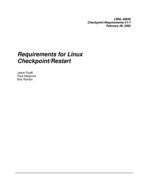 Primary view of object titled 'Requirements for Linux Checkpoint/Restart'.