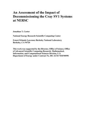 Primary view of object titled 'An assessment of the impact of decommissioning the Cray SV1 systems at NERSC'.