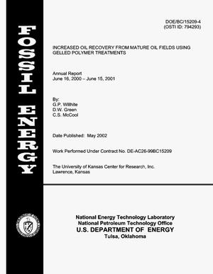 Primary view of object titled 'Increased Oil Recovery from Mature Oil Fields Using Gelled Polymer Treatments, Annual Report, June 16,2000-June 15, 2001'.