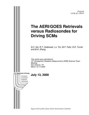 Primary view of object titled 'The AERI/GOES Retrievals Versus Radiosondes for Driving SCMs'.