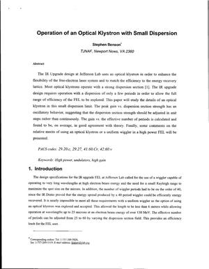 Primary view of object titled 'Operation of an Optical Klystron with Small Dispersion'.