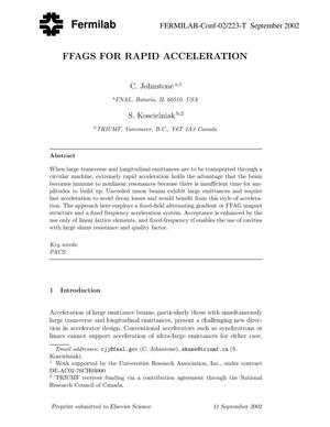 Primary view of object titled 'FFAGS for rapid acceleration'.