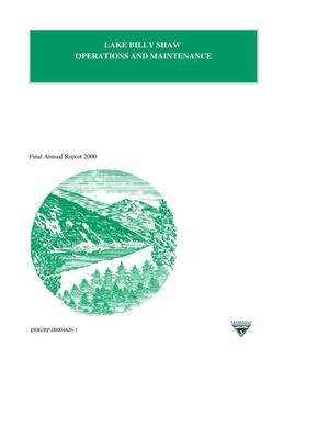 Primary view of object titled 'Lake Billy Shaw Operations and Maintenance, Final Annual Report 2000.'.