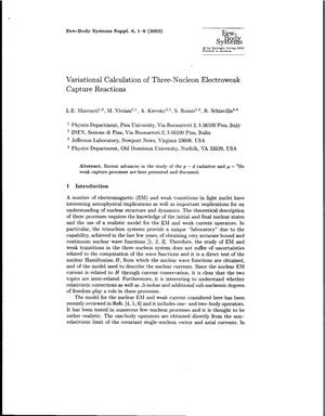 Primary view of object titled 'Variational Calculation of Three-Nucleon Electroweak Capture Reactions'.